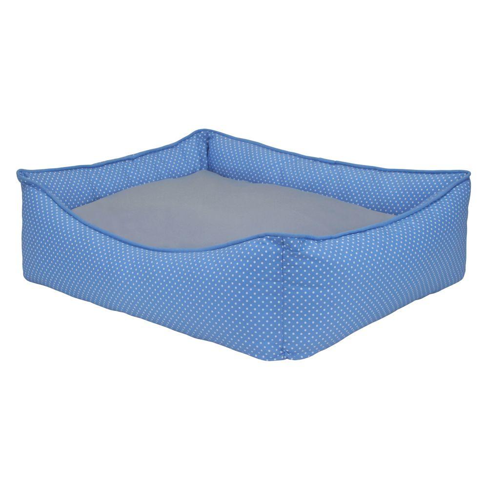 Cama Retangular Carinhosa - Azul e Cinza - Tam M