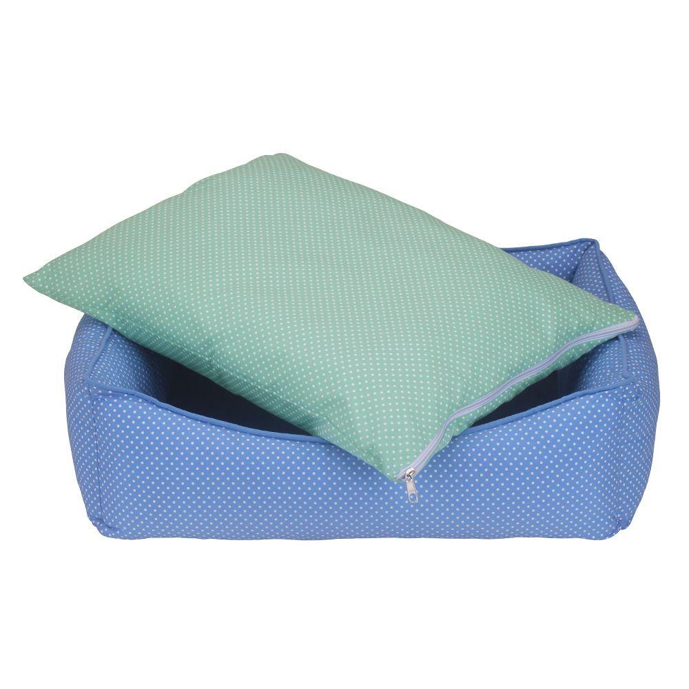 Cama Retangular Carinhosa - Azul e Verde - Tam P