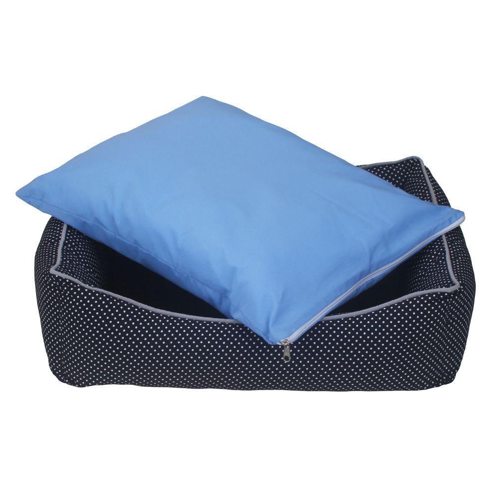 Cama Retangular Carinhosa - Preta e Azul - Tam M