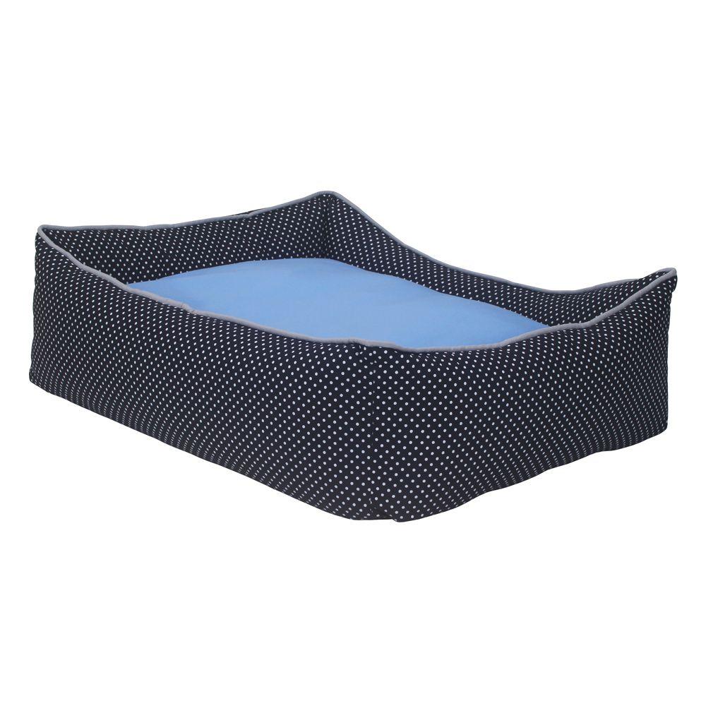 Cama Retangular Carinhosa - Preta e Azul - Tam P