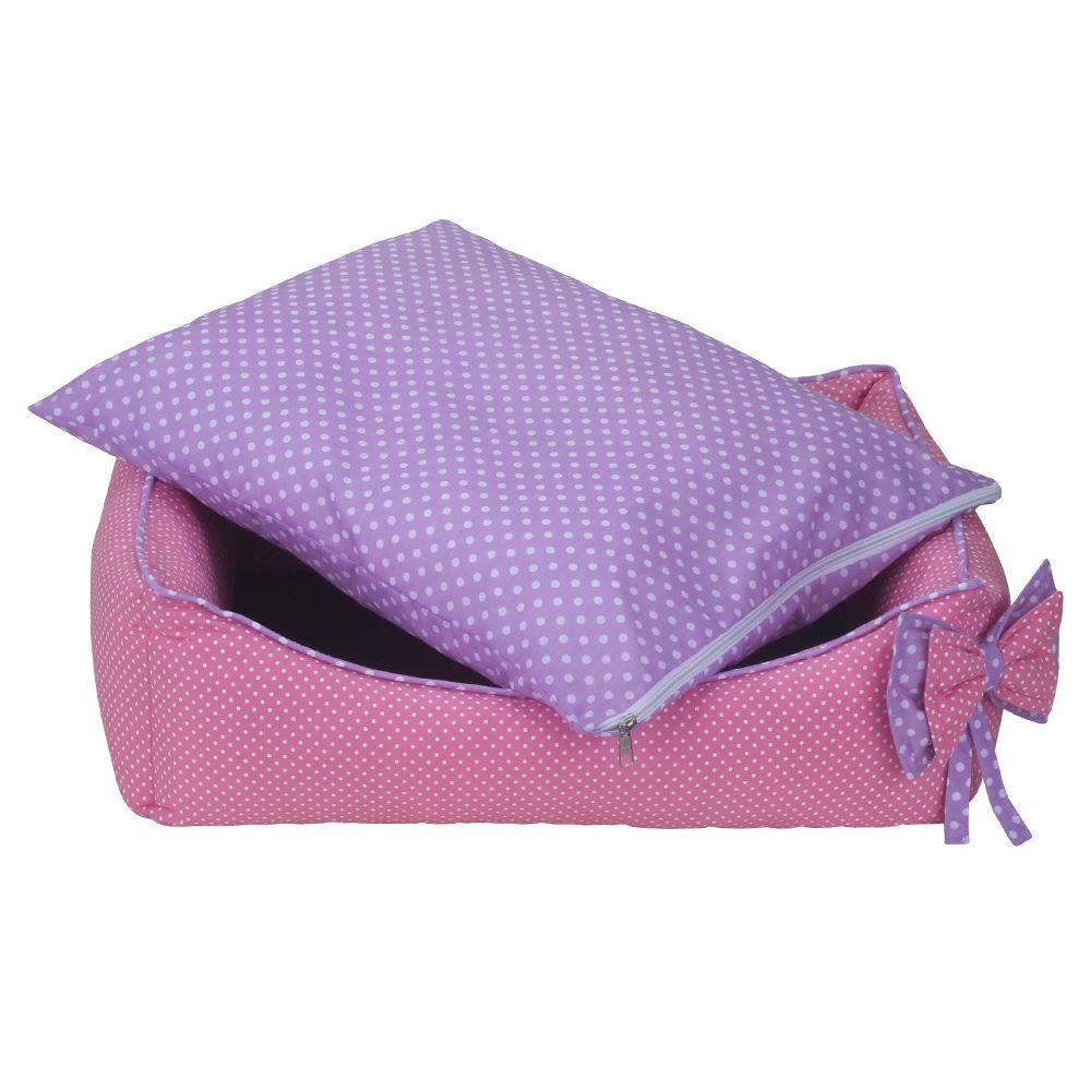 Cama Retangular Carinhosa - Rosa e Lilás - Tam P