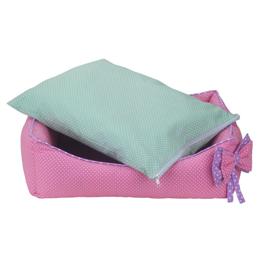 Cama Retangular Carinhosa - Rosa e Verde - Tam P