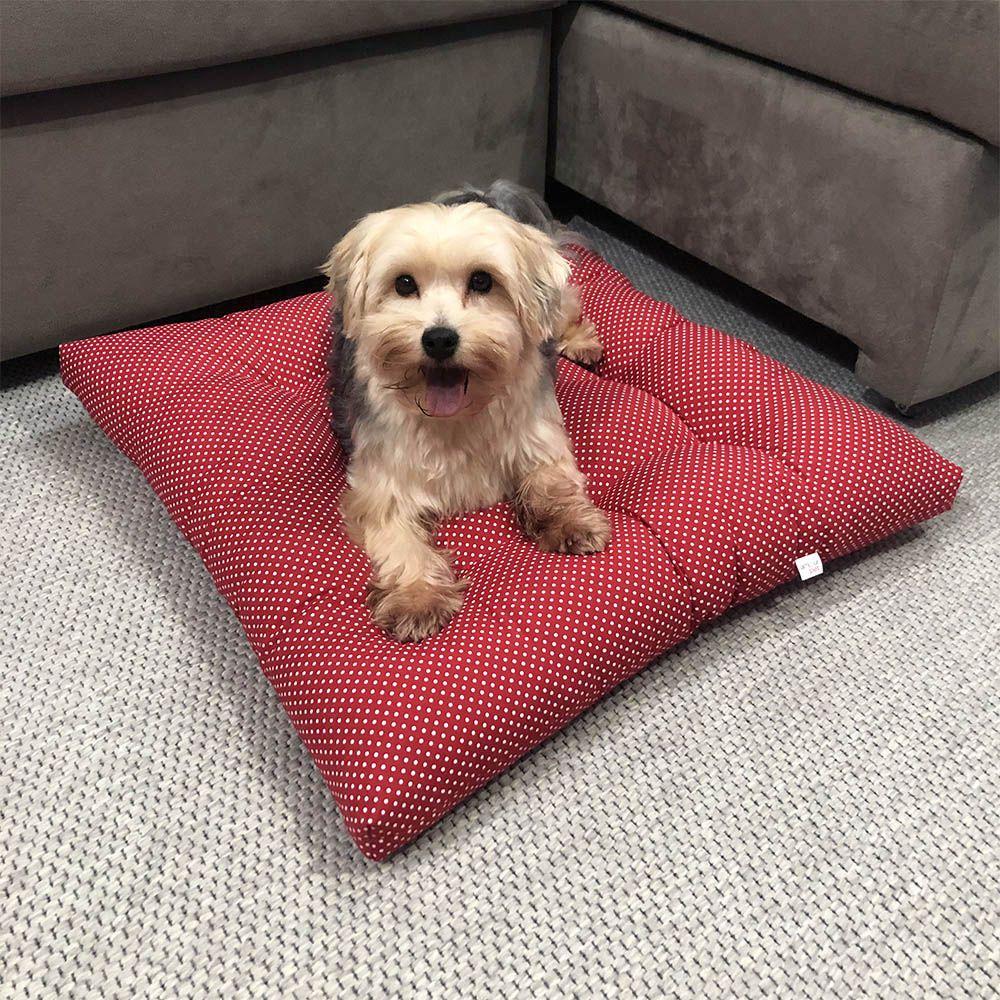 Colchonete Futon Pet Quadrado - Vermelho Poá - Tam Único