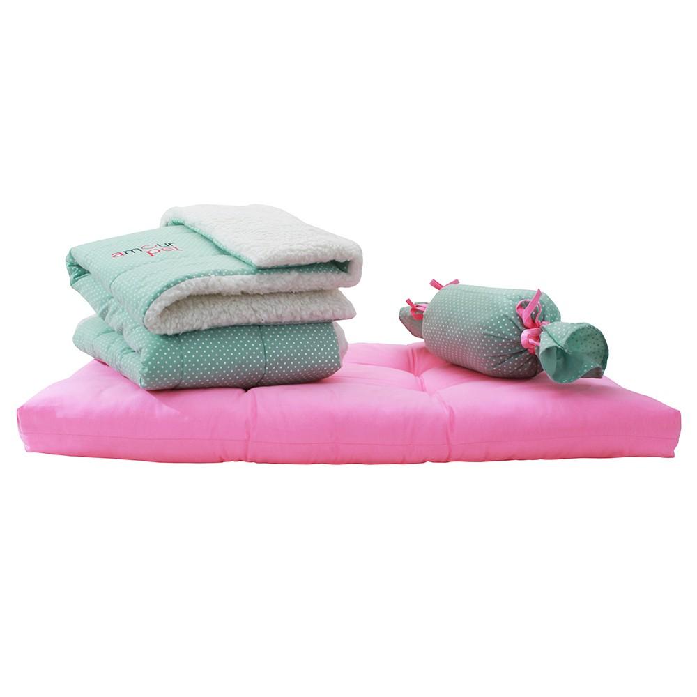 Kit Soneca Pet - Rosa e Verde Poá - Tam M