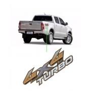 Emblema Adesivo 4x4 Turbo Hilux 2014 A 2016 Cinza E Cromado