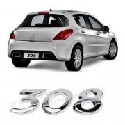Emblema Letreiro Nome 308 Cromado Peugeot 2012 Até 2019