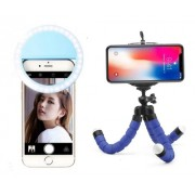 Mini Tripé Flexível + Anel Luz Selfie Ring Light Celular