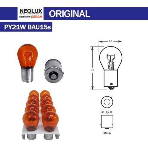 10 Lâmpadas Para Lanterna 1 Polo Âmbar 12v 21w Osram N581