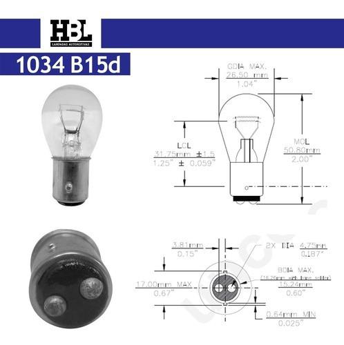 Lâmpada Lanterna Ou Freio Hbl 1034 2 Polos 12v 21/5w 10 Pçs
