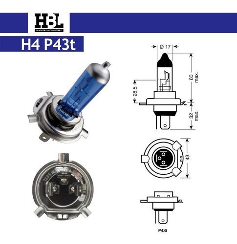 Lâmpada Farol Hbl H4 Cool Blue Super Branca 12v 60/55w 7412
