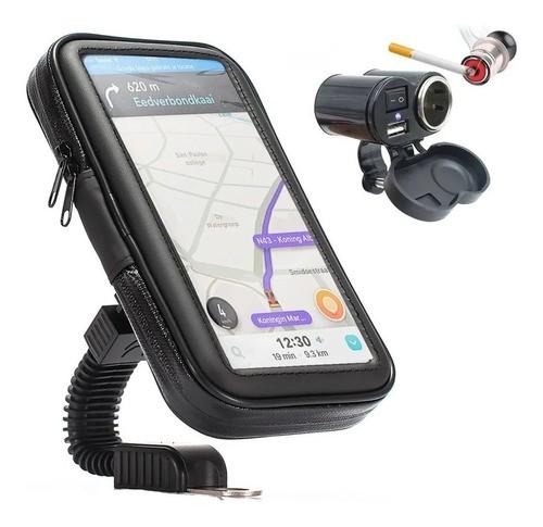 Kit Motoboy Suporte P/ Celular + Tomada Usb Moto Gps