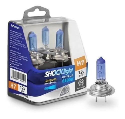Par Lâmpadas H7 8500k 55w 12v Super Branca Shocklight
