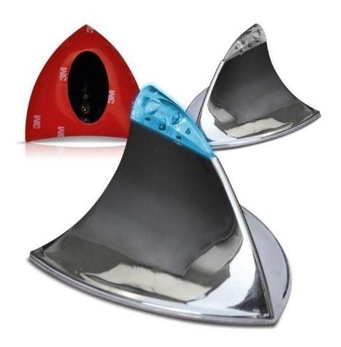 Antena Barbatana Tubarão Cromada Com Led Azul