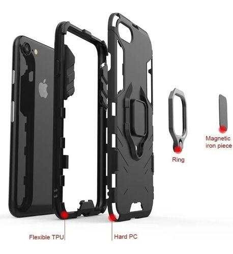 Capa Anti Impacto Suporte Anel 360° iPhone 8 Plus Cor:Preto