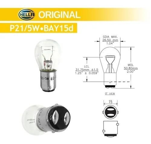 KIT 10 LAMPADAS CONVENCIONAIS 12V LANTERNA P21/5W S8 12V 21/5W
