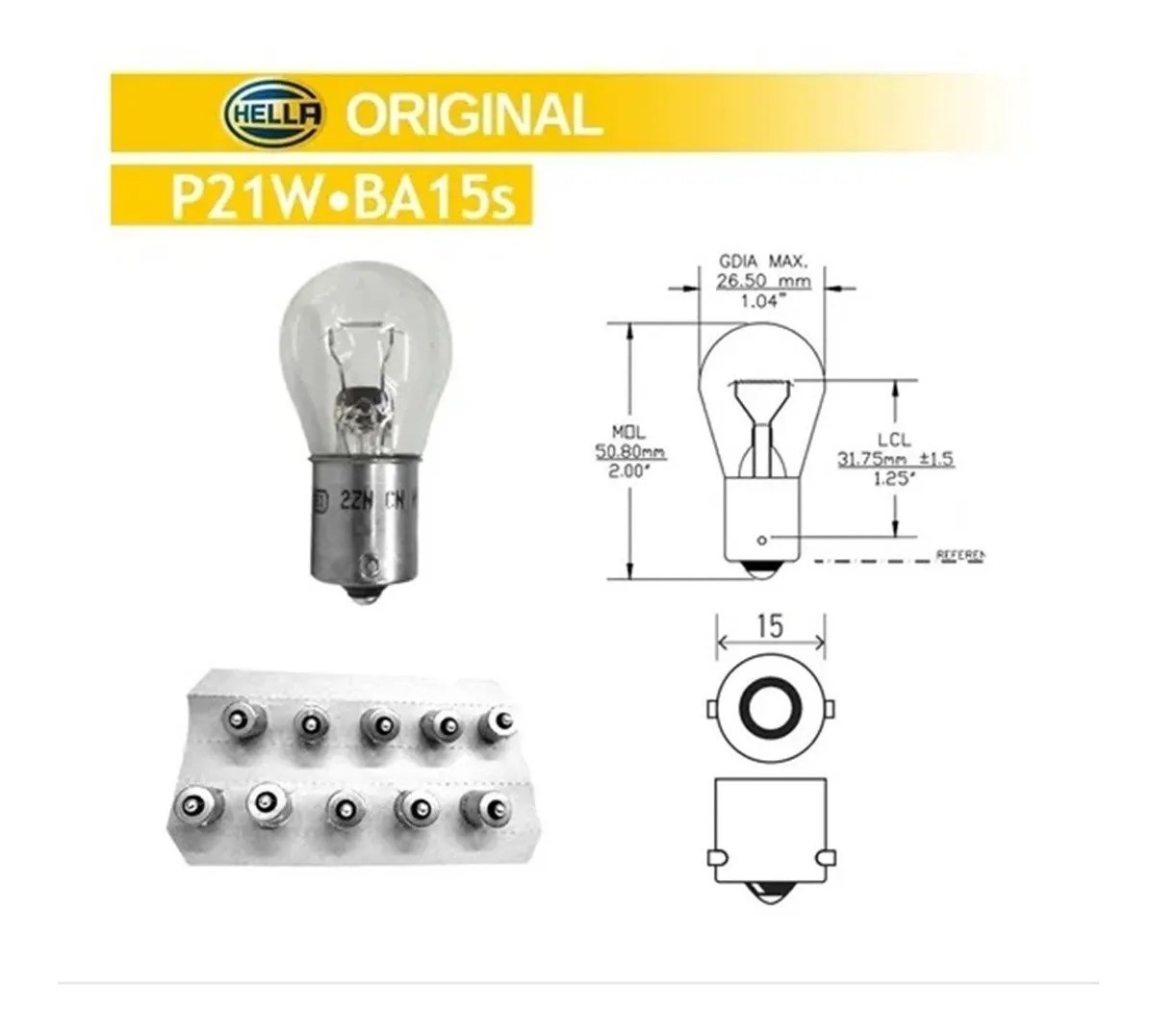 KIT 10 LAMPADAS CONVENCIONAIS 12V LANTERNA PW21 S8 12V 21W