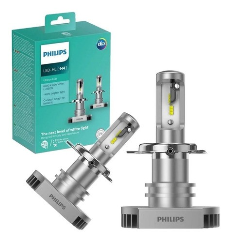 Kit Lampada Philips Led Ultinon H4 6200k Par + 160% Luz