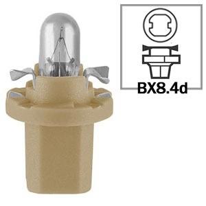 LAMPADA CONVENCIONAL 12V 12V 1,5W BX8.4D BEGE BASE CURTA MINIATURA BASE PLASTICA T5 UNIVERSAL HELLA