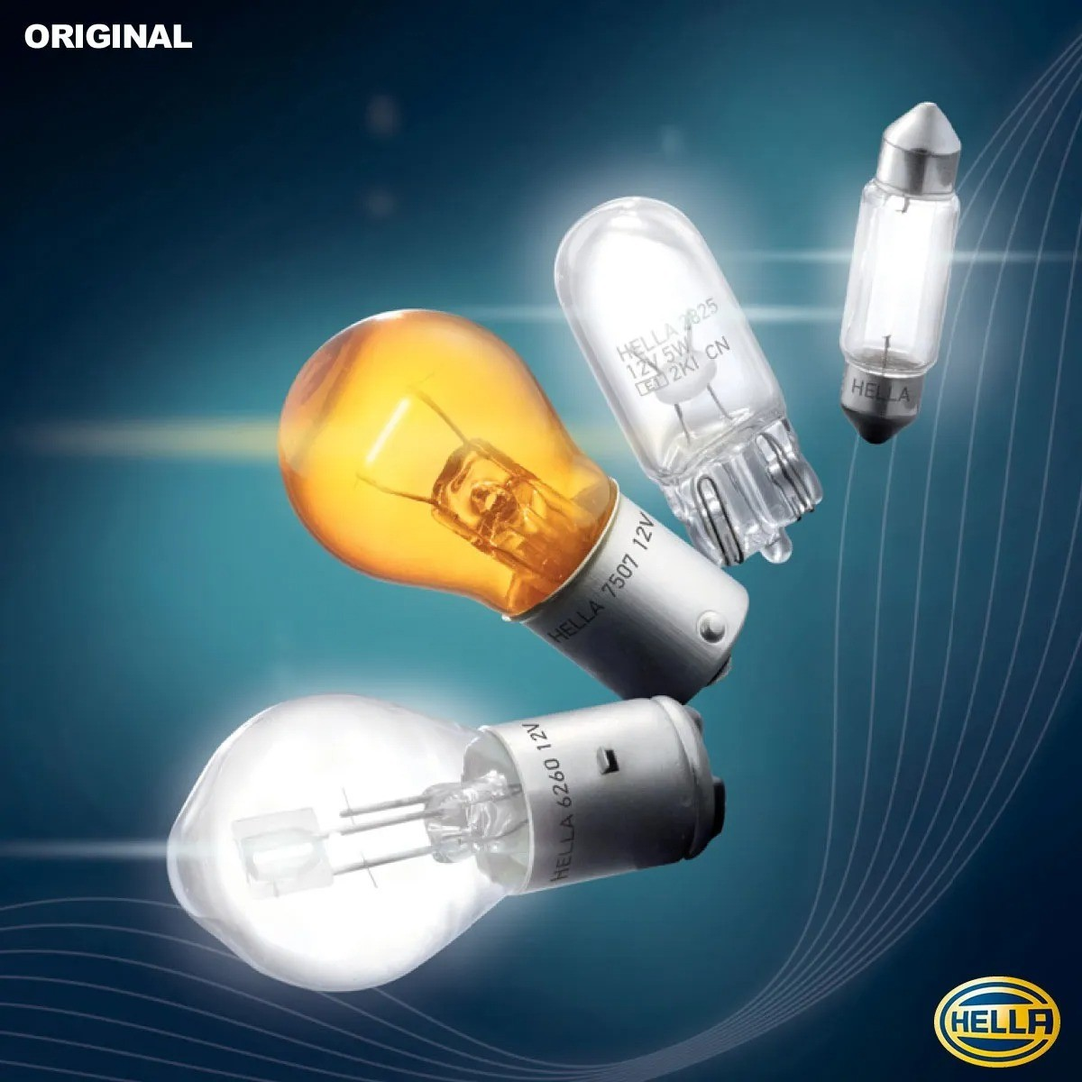 LAMPADA CONVENCIONAL 12V 27W BASE PLASTICA 1 POLO UNIVERSAL HELLA PLASTICO