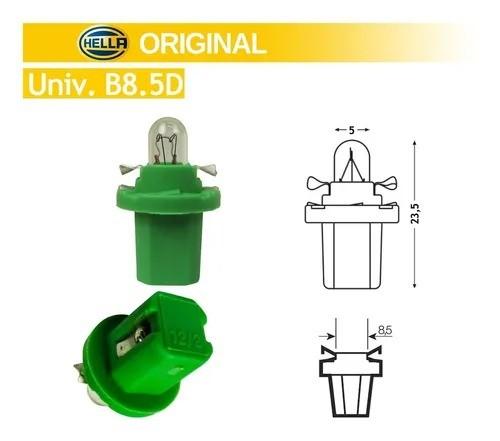 LAMPADA CONVENCIONAL 12V 2W B8.5D VERDE LIMAO MINIATURA BASE PLASTICA T5 UNIVERSAL HELLA