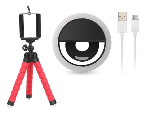 Mini Tripé Flexível + Anel Luz Selfie Ring Light Celular