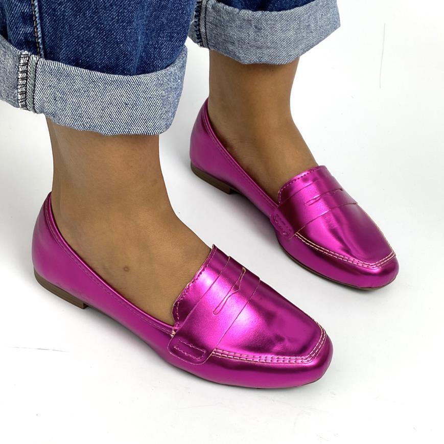 Mocassim Feminino Metalizado Pink