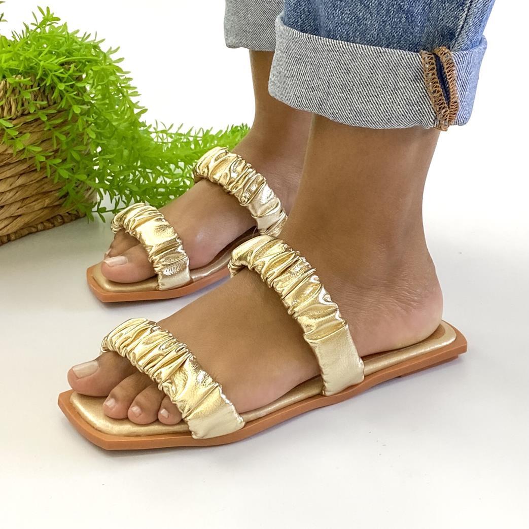 Sandalia Feminina  Bico Quadrado Dourada