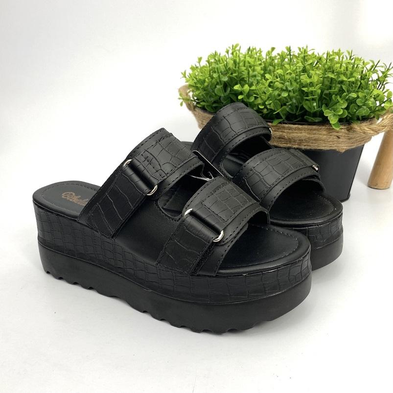 Sandalia Feminina Flat C/ Velcro Croco Preto