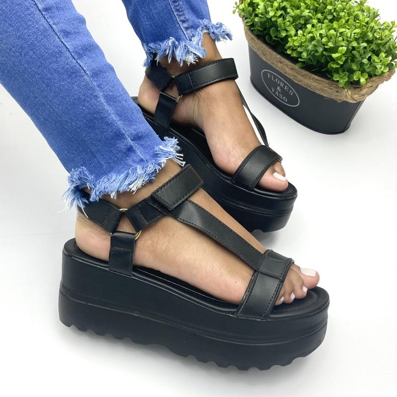Sandalia Feminina Flatform C/ Velcro Preto