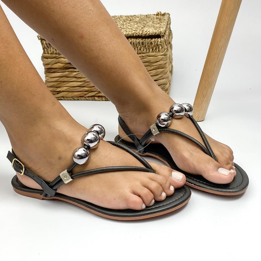 Sandália Feminina Rasteira Toe Sandal Preta