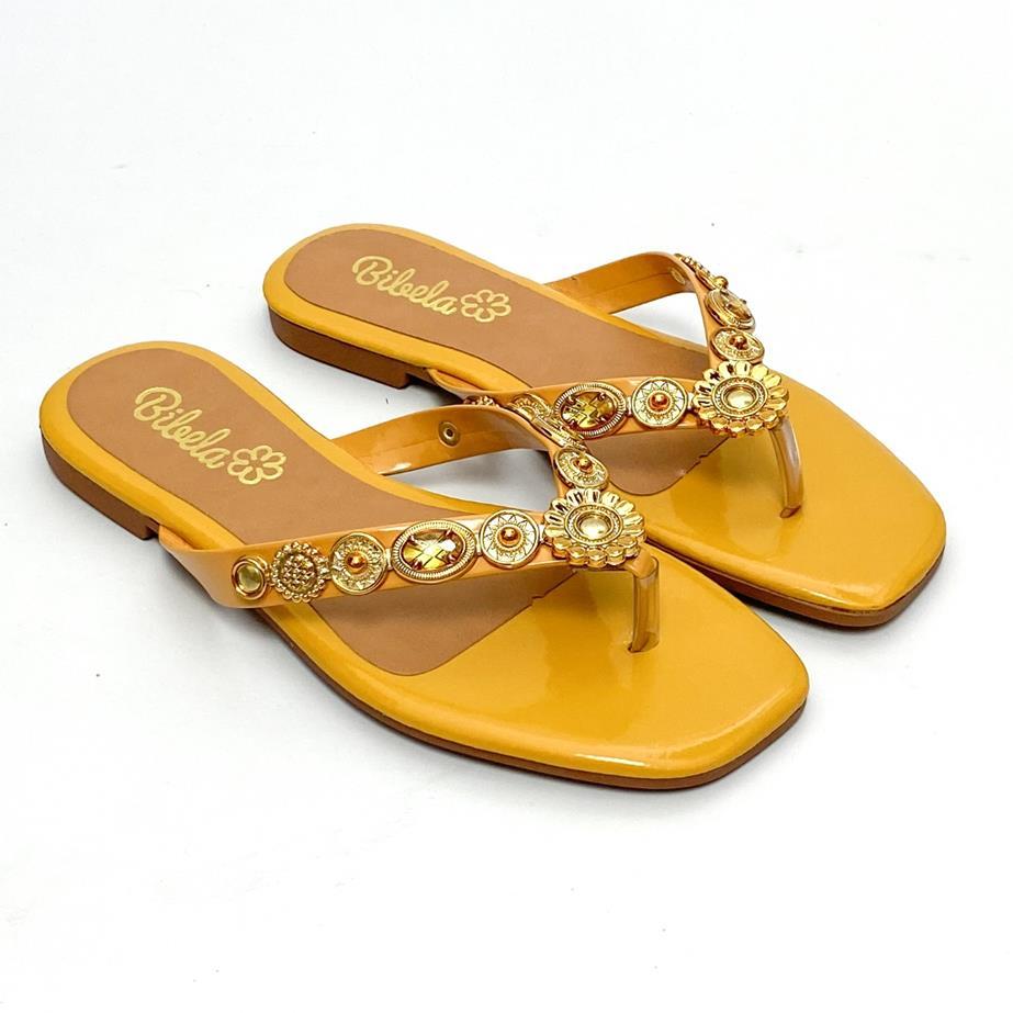 Sandália Feminina Rasteira Amarelo com Dourado