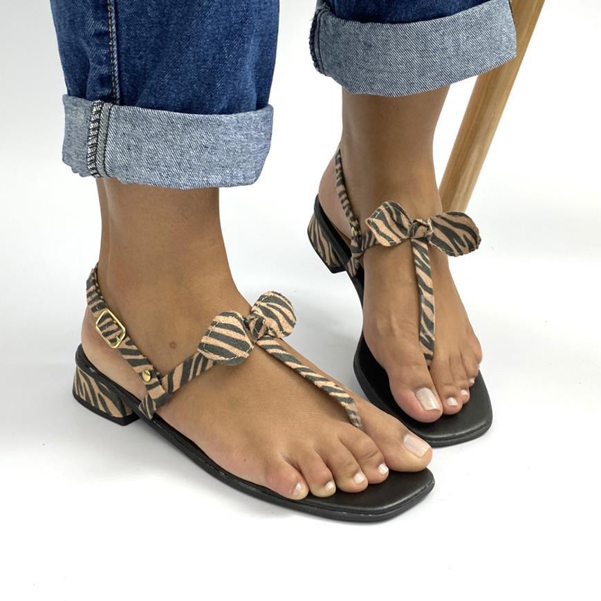 Sandalia Rasteira Saltinho Laço Zebra