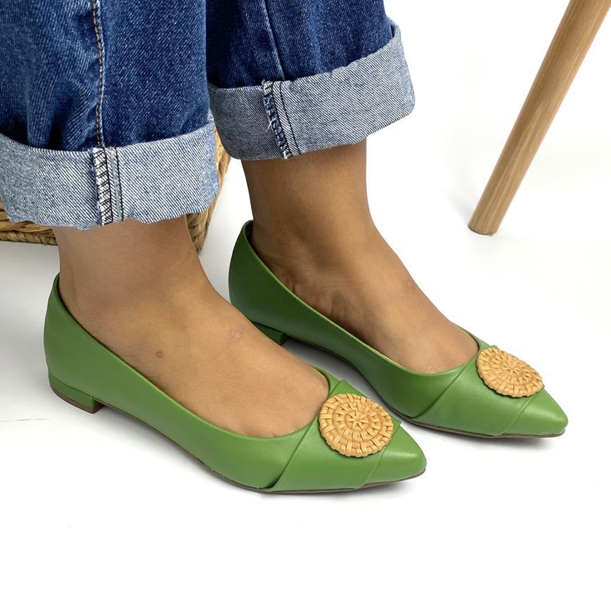 Sapatilha Feminina Saltinho Napa Verde