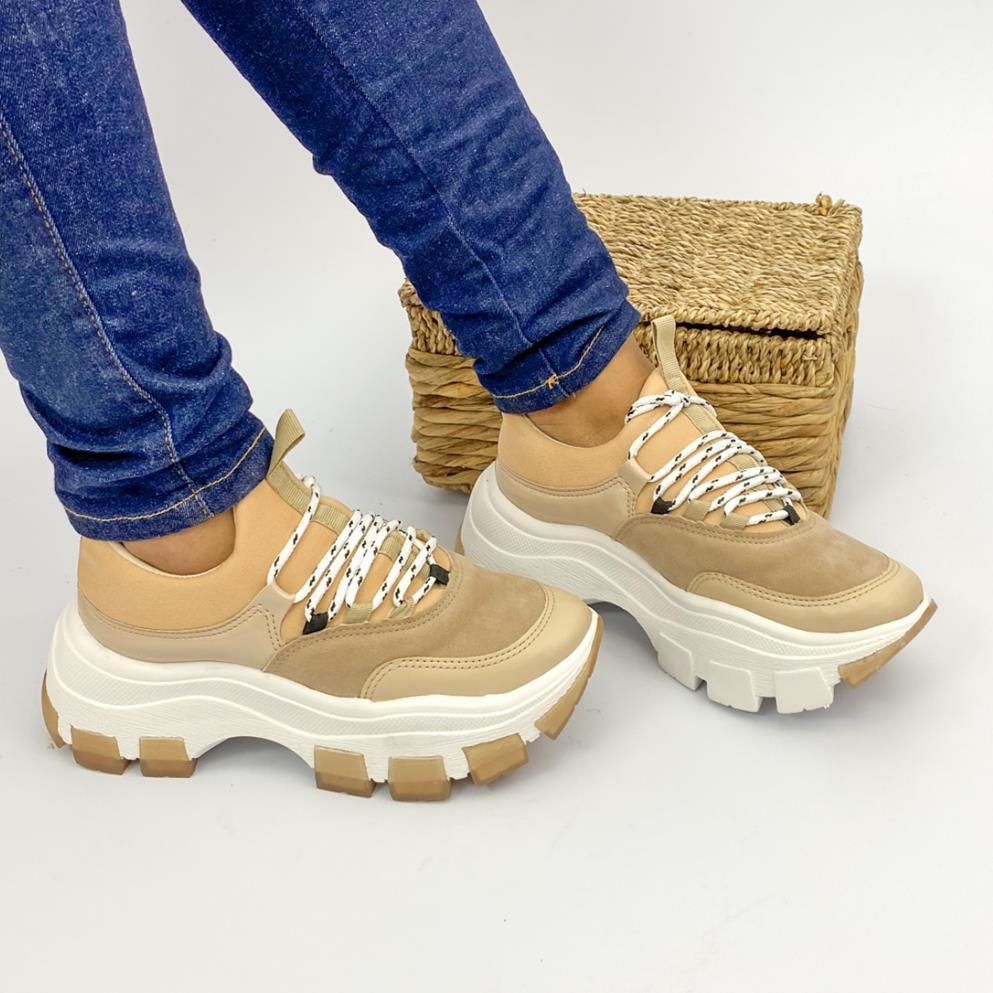 Tênis Feminino With Shoelaces Bege Bibela