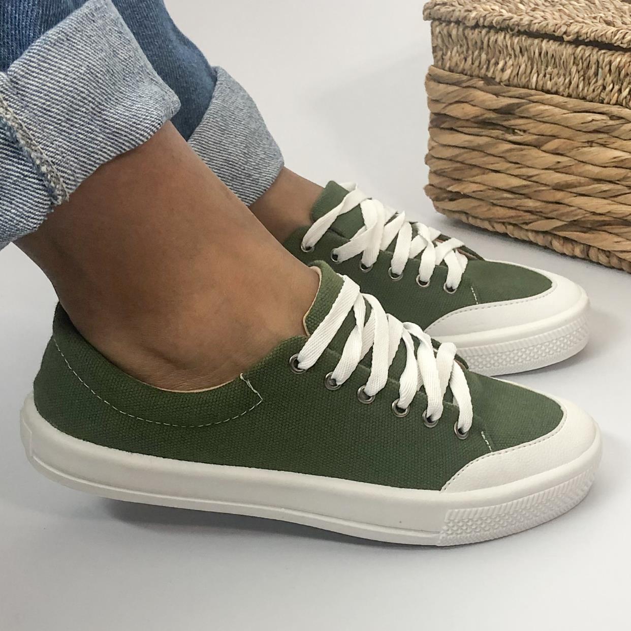 Tênis Feminino Casual With Lace Verde Militar