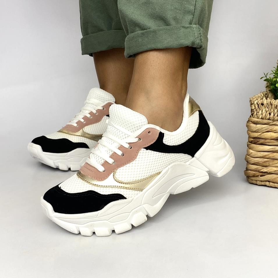 Tenis Feminino Sneaker Preto e Ouro