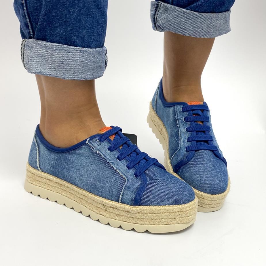 Tênis Feminino Jeans Plataforma de corda
