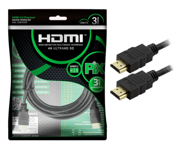 Cabo HDMI PIX 3m 2.0 4K 19 Pinos