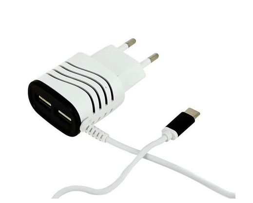 Carregador V8 2 Portas USB Tomada Ultra Rápido Ebai