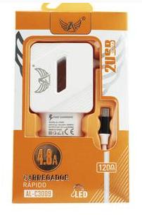 Carregador V8 4.8A 2 portas USB ultra rápido ALTOMEX
