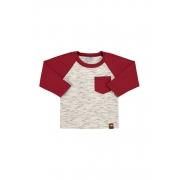 Camiseta Manga Longa Com Bolso Off White/Vermelho Marlan