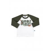 Camiseta Manga Longa Floresta Branco/Verme Musgo Marlan