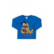 Camiseta Manga Longa Mickey e Pluto Azul Bic Marlan
