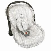 Capa Bebê Conforto Ajustável Estampada 3 Peças - Chevron Cinza Batistela Baby