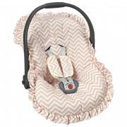 Capa Bebê Conforto Ajustável Estampada 3 Peças - Chevron Rosê Batistela Baby