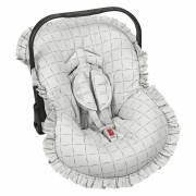 Capa Bebê Conforto Ajustável Estampada 3 Peças - Quadriculado Cinza Batistela Baby