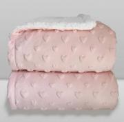 Cobertor Sherpam Hearts Coração Rosa Claro Laço Bebê
