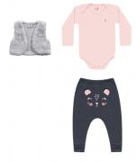 Conjunto Coletinho, Body e Calça  Rosa Kiko Baby
