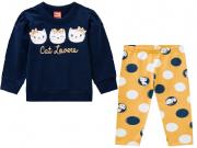 Conjunto Moletom e Calça Gatinhas Amarelo/Azul Marinho Kyly