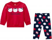 Conjunto Moletom e Calça Gatinhas Vermelho/Azul Marinho Kyly
